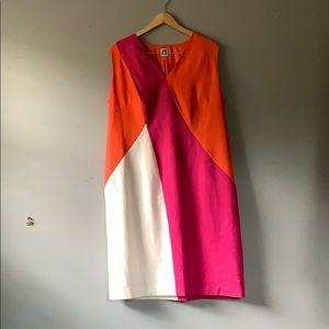Plus Size Pink Anne Klein Color Block Dress 18w